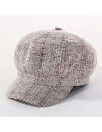 Fashion Beige Lattice Octagonal Cap