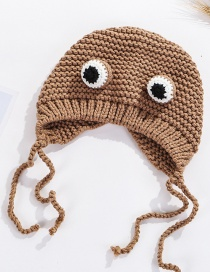 Fashion Khaki Cartoon Knit Frog Big Eyes Children's Wool Cap