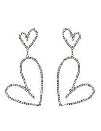Fashion Silver Color Alloy Diamond Heart Earrings