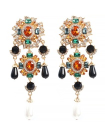 Fashion Gold Alloy Rhinestone Earrings