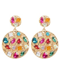 Fashion Golden Circle Alloy Rhinestone Geometric Earrings
