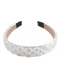 Fashion White Crystal Rice Beads Headband