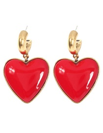 Fashion Red Alloy Resin Love Earrings