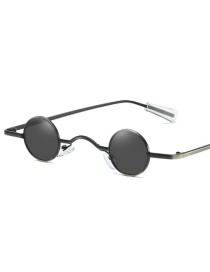 Fashion Full Black Ultra Small Frame Round Sunglasses