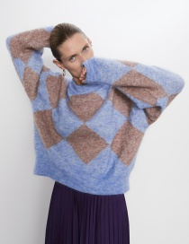 Fashion Blue Mohair Stitching Sweater