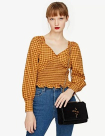 Fashion Yellow Checked Elastic Waist Top