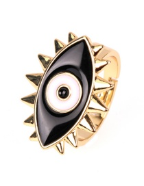 Fashion Black Open Drip Eye Ring