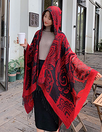 Fashion Red Cashew Dual-use Scarf Shawl