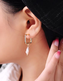 Fashion Gold S925 Silver Needle Geometric Shell Pearl Earrings