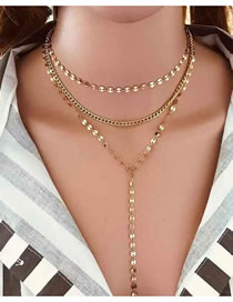 Fashion Gold Sequin Necklace