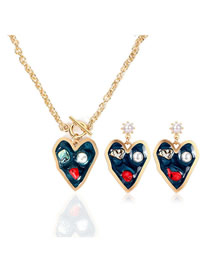 Fashion Gold Love Necklace Earring Set