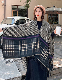 Fashion Black Dual-use Striped Plaid Scarf Shawl