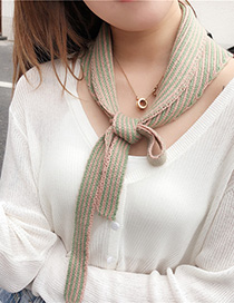 Fashion Gray Stripe Knitted Fake Collar Knotted Scarf Small Vest
