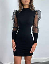 Fashion Black Perspective Mesh Long Sleeve Round Neck Dress