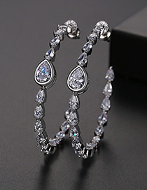 Fashion White Copper Inlay Zircon Earrings