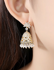 Fashion 18k Micro-inlaid Zirconium Stereo Bell Earrings
