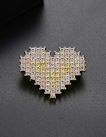 Fashion Yellow Heart-shaped Copper-inlaid Zirconium Brooch
