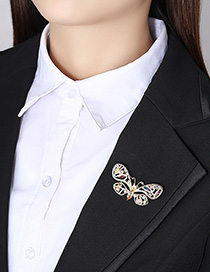 Fashion 18k Copper Inlaid Zirconium Butterfly Brooch