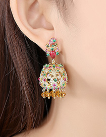 Fashion 18k Copper Inlaid Zirconium Bell Earrings