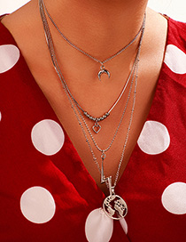 Fashion Gold Moon Map Lightning Love Multilayer Necklace