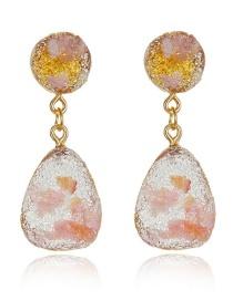 Fashion Pink Geometric Gravel Earrings