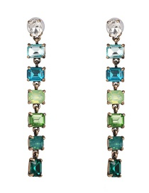 Fashion Green Gradient Colored Crystal Earrings