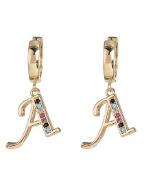 Fashion A Gold English Alphabet Alloy Stud Earrings