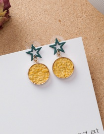 Fashion Yellow 925 Silver Needle Scrub Openwork Star Splice Fleece Earrings