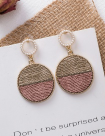Fashion Pink 925 Silver Needle Round Geometric Earrings