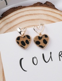 Fashion Brown 925 Silver Needle Hollow Metal Asymmetrical Leopard Love Earrings