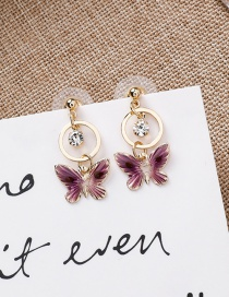 Fashion Purple Butterfly Earrings
