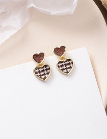 Fashion Love 925 Silver Needle Asymmetric Plaid Earrings