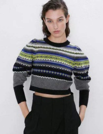 Fashion Color Round Neck Long Sleeve Jacquard Sweater