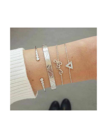 Fashion Silver Alloy Diamond Letter Bracelet Set