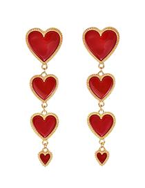 Fashion Red Gold Alloy Drop Oil Love Stud Earrings