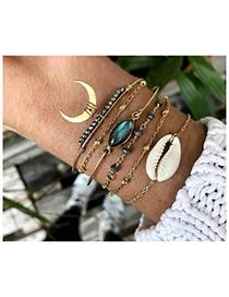 Fashion Gold Alloy Diamond Shell Bracelet Set