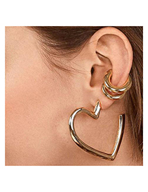 Fashion Gold Alloy Love Earrings Ear Clips