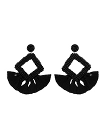 Fashion Black Mizhu Fringed Geometric Diamond Earrings