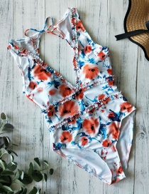 Fashion Orange Flowers On White Printed Small Lace Deep V Open Back Triangle One-piece Swimsuit