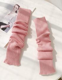 Fashion Wool Cuff Pink Wool Half Finger Gloves