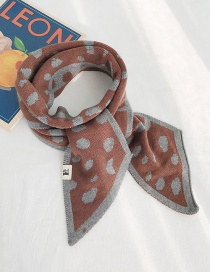 Fashion Polka Dot Leopard Beveled Scarf Coffee Knitted Wool Polka Dot Double-sided Beveled Small Scarf