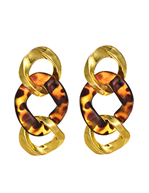 Fashion Gold Alloy Resin Amber Chain Stud Earrings