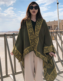 Fashion Army Green Cashmere Scarf Cloak Coat