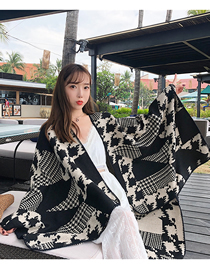Fashion Geometric Houndstooth Houndstooth Jacquard Cashmere Split Shawl Cape