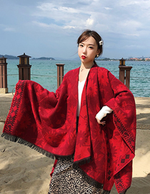 Fashion Diamond Flower Jacquard Imitation Cashmere Shawl