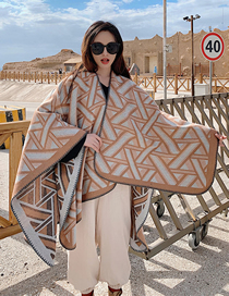 Fashion Khaki Split Geometric Jacquard Knitted Cashmere Cloak Shawl