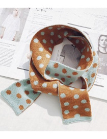 Fashion Dotted Knit Small Scarf Caramel Narrow Short Wave Knit Wool Scarf