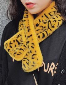 Fashion Solid Color Plus Leopard Yellow Plush Leopard Scarf