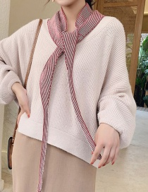 Fashion Straight Triangle Wine Red Knitted Wool Striped Triangle