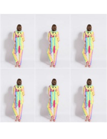Fashion Rainbow Sky Marathon Animal Cartoon Flannel One-piece Pajamas For Children